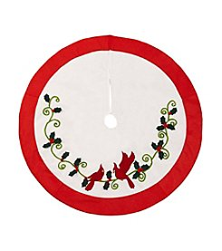 LivingQuarters Greenhouse Collection Cardinal & Holly Vines Tree Skirt
