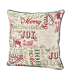 LivingQuarters Holiday Typography Pillow