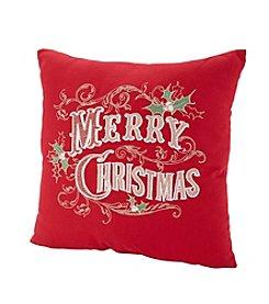 LivingQuarters Velvet Poinsettia Pillow