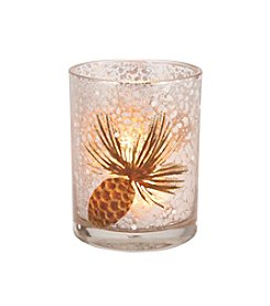 LivingQuarters Rustic Lodge Collection Small Pinecone Tealight Holder