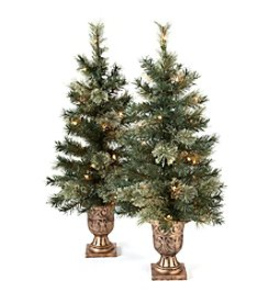 LivingQuarters Set Of Two 3.5' Prelit Porch Trees