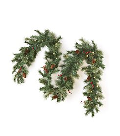 LivingQuarters 9' Artificial Prelit Garland With Timer