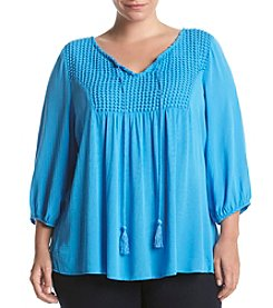 Oneworld® Plus Size Notched Neck Peasant Top