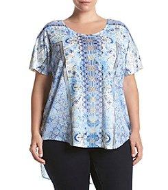 Oneworld® Plus Size Kimono Print Top