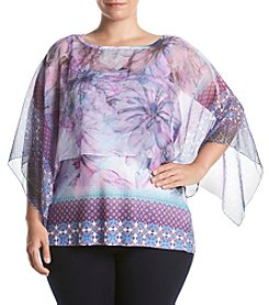 Oneworld® Plus Size Floral Print Cape And Tank Layered Look Top