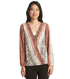 AGB® Snake Print Wrap Front Top