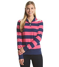 Le Tigre Striped Quarter Zip Knit Pullover Top