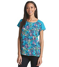 Relativity® Short Sleeve Printed Woven Front Tee