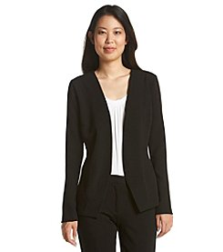 Relativity® Crepe Open Front Button Back Jacket