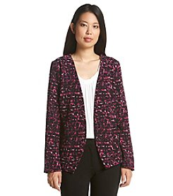 Relativity® Printed Crepe Open Front Button Back Jacket