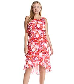 S.L. Fashions Plus Size Floral Patterned Tiered Dress