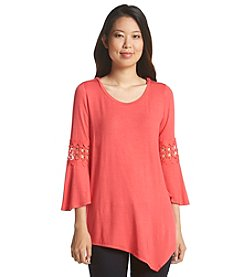 Notations® Inset Lace Solid Knit Top
