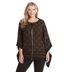 Rafaella® Plus Size Bordered Trellis Print Poncho