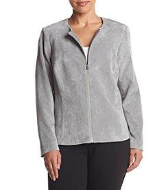Calvin Klein Plus Size Zip Front Faux Suede Jacket