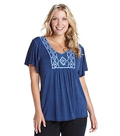 Oneworld® Plus Size Embroidered Bib Top