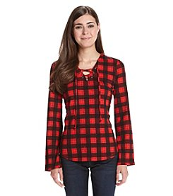 Ruff Hewn Petites' Plaid Lace Up Top