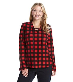 Ruff Hewn Plus Size Plaid Lace Up Top