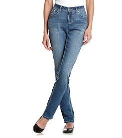 Earl Jean® Petites' Zigzag Stitch Bling Pocket Jeans