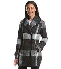 GUESS Plaid Sweater Knit Coat