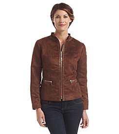 Laura Ashley® Mixed Media Faux Suede Jacket