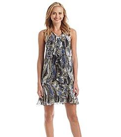Kensie® Marble Swirl Print Ruffle Front Dress