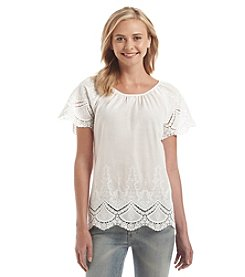 Kensie® Crochet Embroidered Trim Top