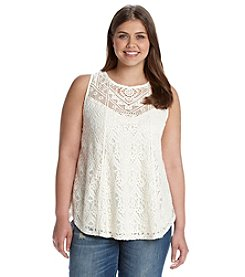 Eyeshadow® Plus Size Embroidered Crochet Lace Swing Tank