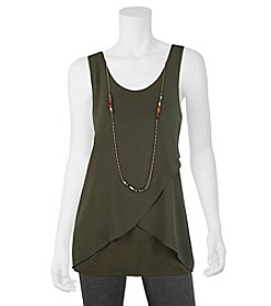 A. Byer Criss Cross Front Tank With Necklace