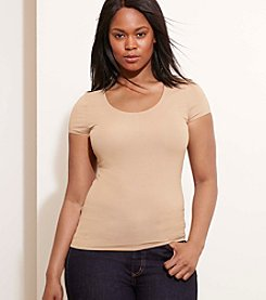 Lauren Ralph Lauren® Plus Size Stretch Cotton Scoop Neck Tee