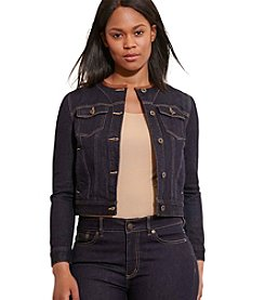 Lauren Ralph Lauren® Plus Size Leather-Trim Denim Jacket