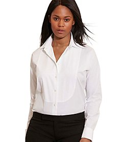 Lauren Ralph Lauren® Plus Size Cotton Poplin Bib Shirt