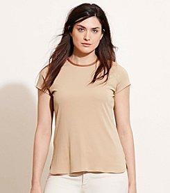 Lauren Ralph Lauren® Plus Size Faux Leather-Trim Jersey Tee
