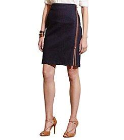 Lauren Ralph Lauren® Petites' Front-Zip Stretch Cotton Skirt