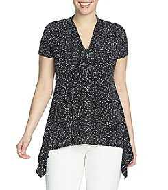 Chaus Cap Sleeve V-Neck Dot Frolic Top