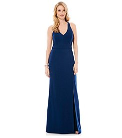 Laundry by Shelli Segal® Open Back Crepe Gown Dress