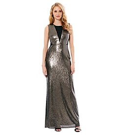 Laundry by Shelli Segal® Open Back Sequin Long Gown Dress