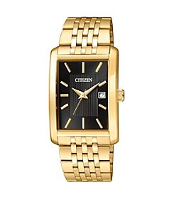 Citizen® Men's  Goldtone Black Dial Rectangular Watch