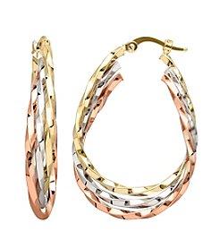Tri Color 14K Gold Oval Twist Hoop Earring