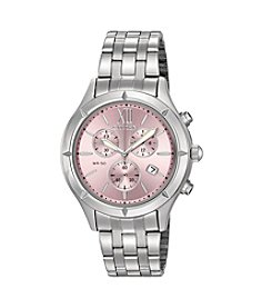 Citizen® Women's Pink Dial Stainless Steel Chronograph Bracelet Watch