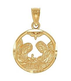 14k Yellow Gold Baptismal Pendant