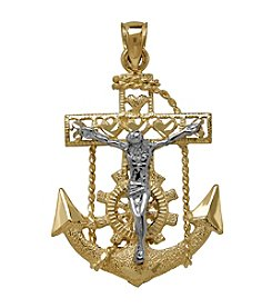 Two Tone 10K Gold Anchor Pendant