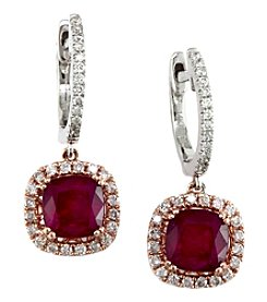 Effy® Ruby Royale Collection Lead Glass Filled Ruby And 0.42 Ct. T.W. Diamond Earrings In 14K Two Tone Gold