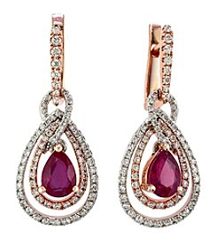 Effy® Ruby Royale Collection Lead Glass Filled Ruby And 0.73 Ct. T.W. Diamond Earrings In 14K Two Tone Gold