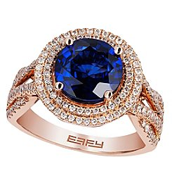 Effy® Royale Bleu Collection Lab Created Sapphire And 0.63 Ct. T.W. Diamond Ring In 14K Rose Gold