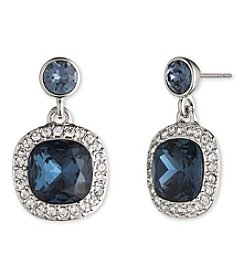 Givenchy® Silvertone Blue Cushion Drop Earrings