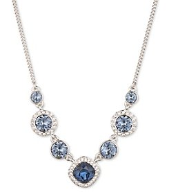 Givenchy® Silvertone Blue Frontal Necklace
