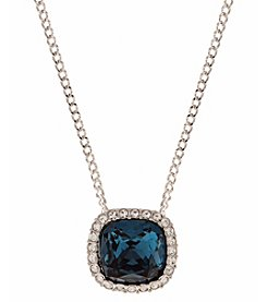 Givenchy® Silvertone Blue Cushion Pendant Necklace