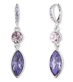 Givenchy® Silvertone Purple Navette Drop Earrings
