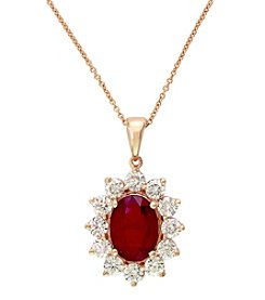 Effy® Ruby Royale Collection Lead Glass Filled Ruby And 1.76 Ct. T.W. Diamond Pendant In 14K Rose Gold