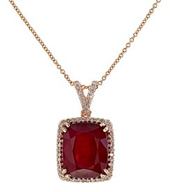 Effy® Ruby Royale Collection Lead Glass Filled Ruby And 0.26 Ct .T.W. Diamond Pendant In 14K Rose Gold